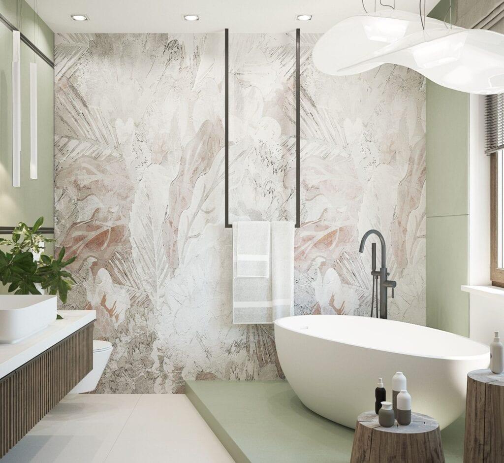 Świetne pomysły na tapetę w łazience - inspiracje od MIKOŁAJSKAstudio