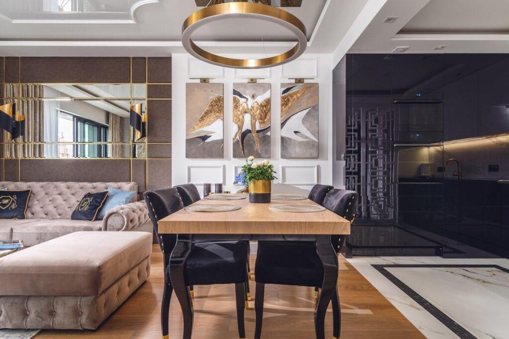 Apartament w stylu glamour projektu pracowni ARTE DIZAIN - projekt Agnieszka Hajdas-Obajtek