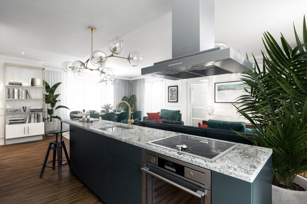 Mieszkanie w stylu eklektycznym projektu Marta Ogrodowczyk Studio - wizualizacje Elżbieta Paćkowska