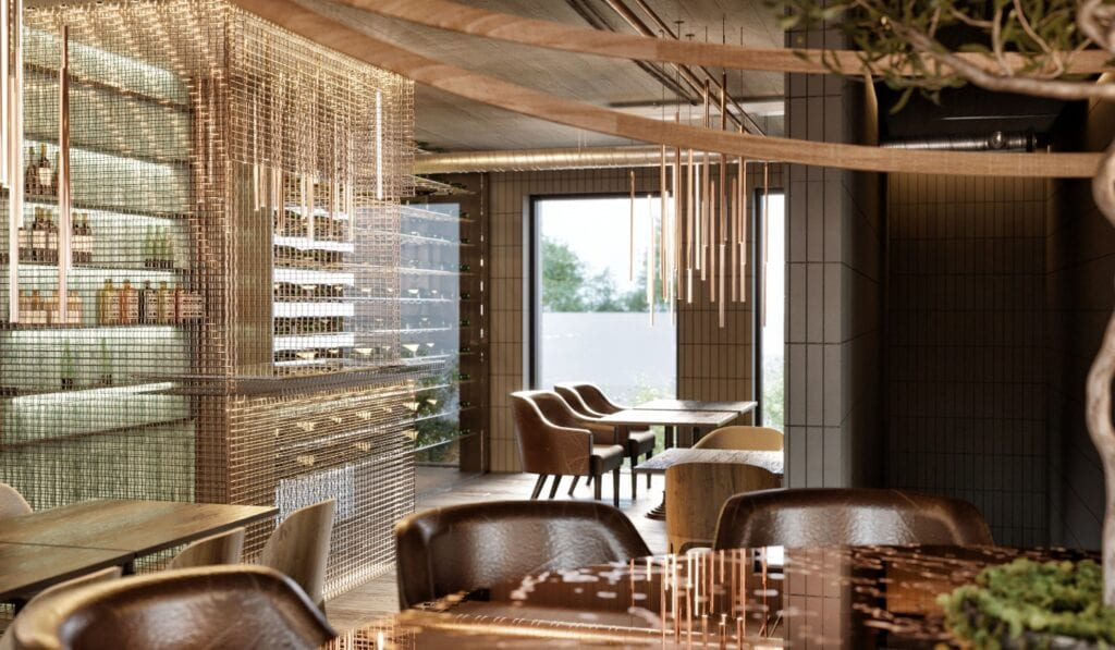 """Restauracja """"Pizza i wino"""" - wnętrza, które zaskakują funkcjonalnością - projekt LOFFT ARCHITEKTURA"""