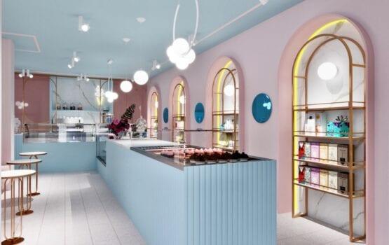 Żurawicki Design i lodziarnio-cukiernia w pastelowej kolorystyce