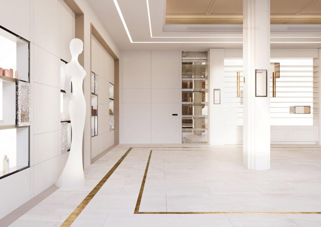 Bezkompromisowy projekt wnętrz INDIGO NAILS projektu REFORM Architekt - Marcin Tomaszewski - Showroom