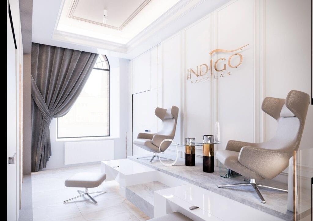Bezkompromisowy projekt wnętrz INDIGO NAILS projektu REFORM Architekt - Marcin Tomaszewski - Gabinet kosmetyczny