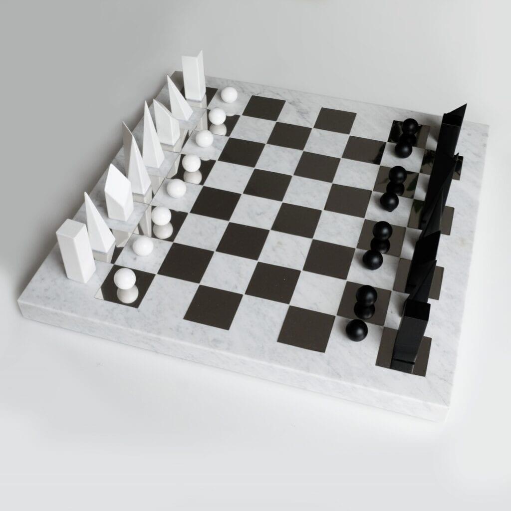 Szachy minimalisty - projekt dla fanów serialu Gambit Królowej - projekt Zuzanny Jakubowskiej-Adamczyk