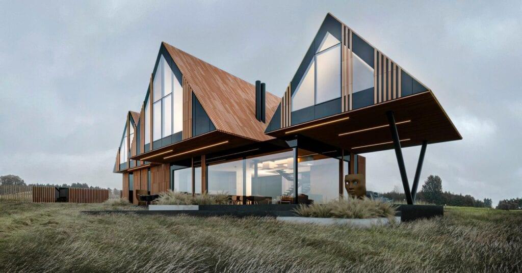 Futurystyczne bryły domów projektu REFORM Architekt - RE: BRRRDA HOUSE