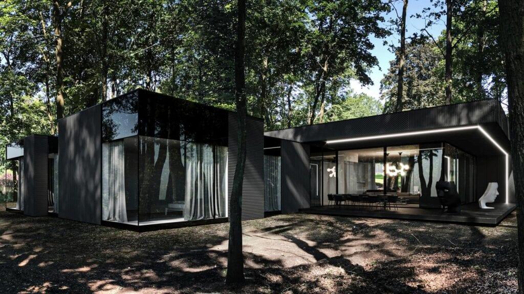 Futurystyczne bryły domów projektu REFORM Architekt - RE: DARK HOUSE