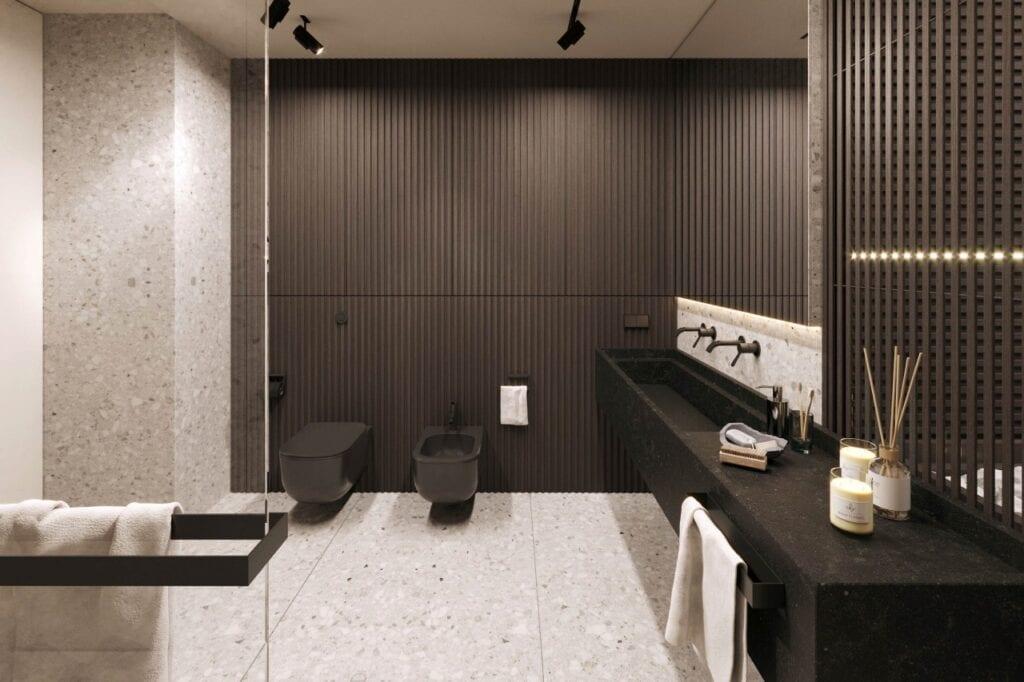 Nastrojowy penthouse projektu KANDO ARCHITECTS