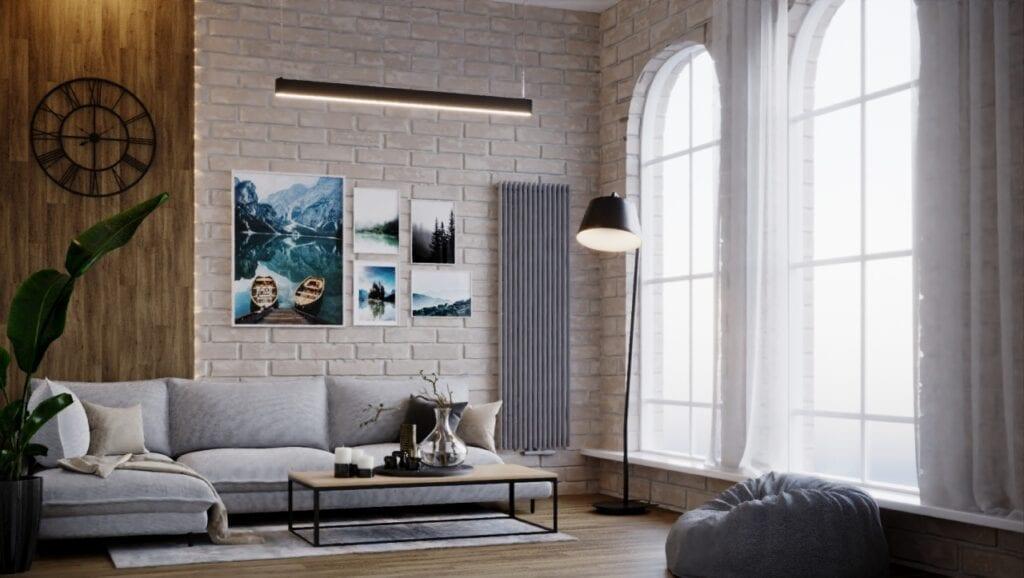 Pantone w Twoim domu - kolorystyczny kierunek wnętrzarski 2021 - szary grzejnik Luxrad w salonie
