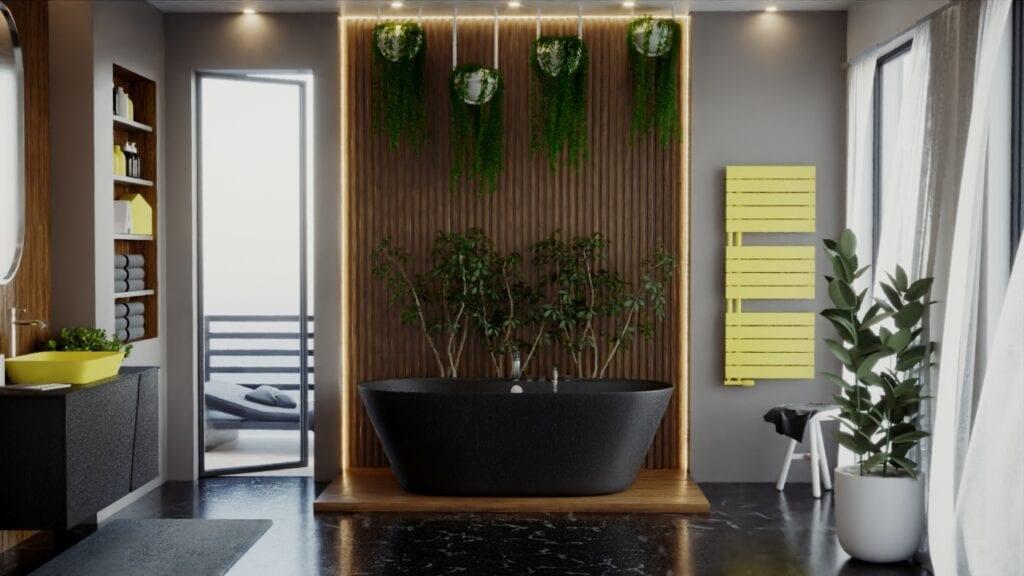 Pantone w Twoim domu - kolorystyczny kierunek wnętrzarski 2021 - żółty grzejnik Luxrad w łazience
