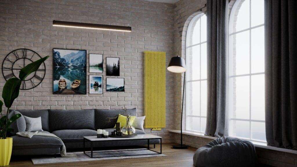 Pantone w Twoim domu - kolorystyczny kierunek wnętrzarski 2021 - żółty grzejnik Luxrad w salonie