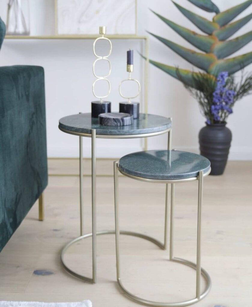 Westwing - najmodniejsze aranżacje w Twoim domu - Ella - komplet stolików pomocniczych z marmuru