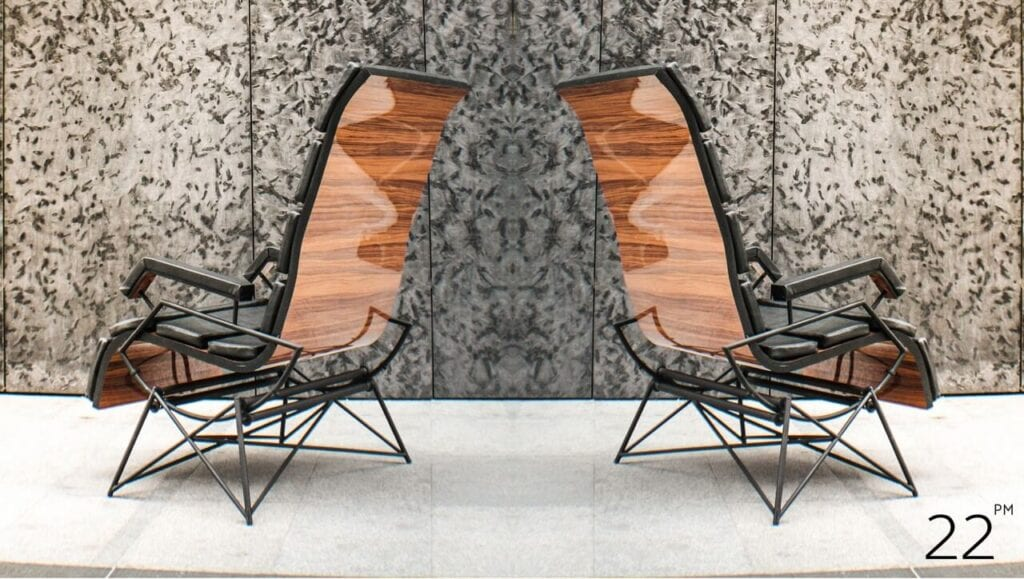 Fotel bujany EFFORTLES projektu 22pm Studio Design - Rafał Gochna