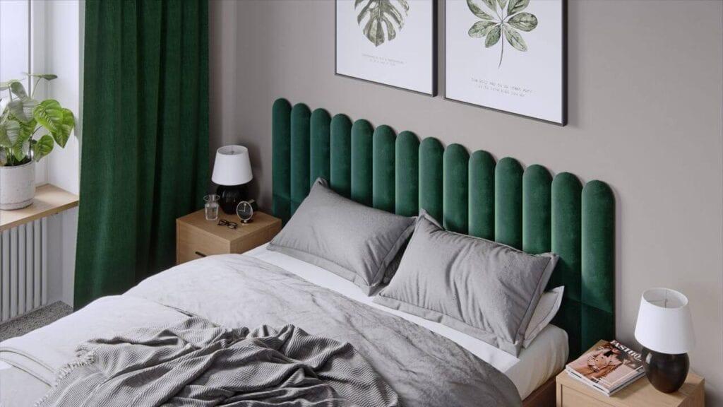 Zielone panele tapicerowane za łóżkiem marki Vilo