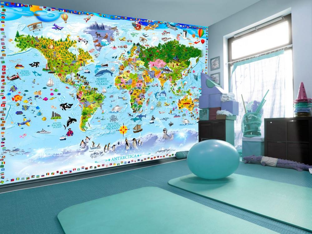 Tapety i fototapety - wyjątkowe dekoracje ścienne od Bimago - Mapa świata z kolorowymi rysunkami