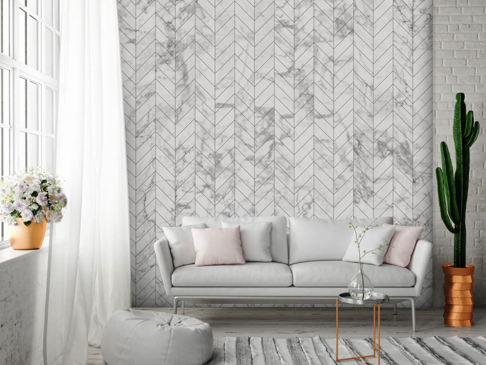 Tapety i fototapety - wyjątkowe dekoracje ścienne od Bimago - Marmurowa jodełka