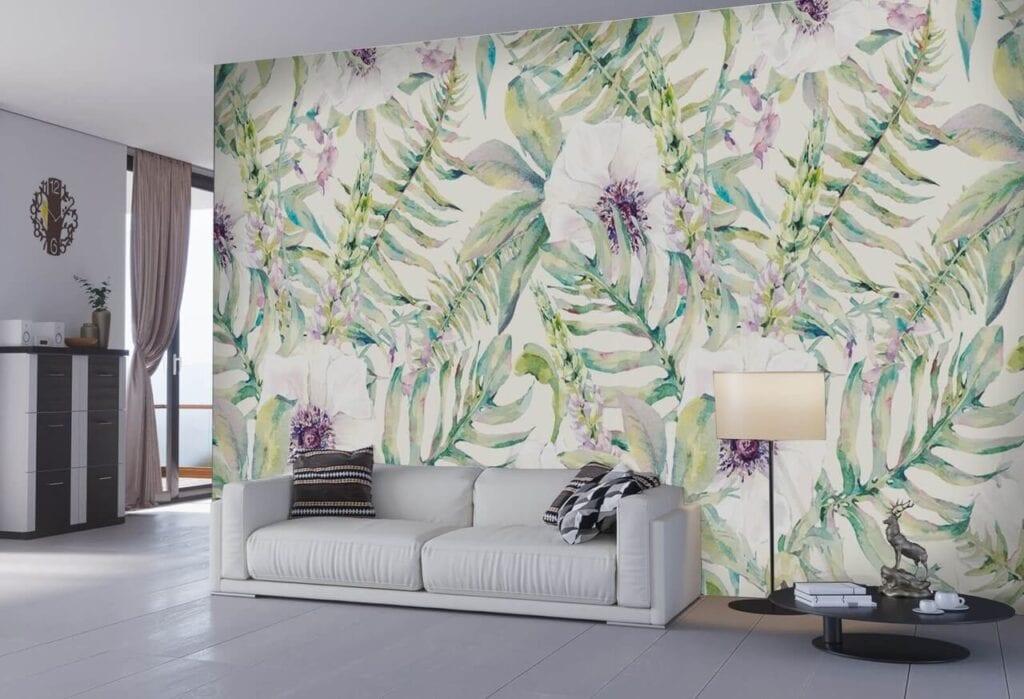 Dekorujemy ścianę w salonie - designerskie tapety do wyjątkowych wnętrz - uWalls - Akwarela liści i kwiatów