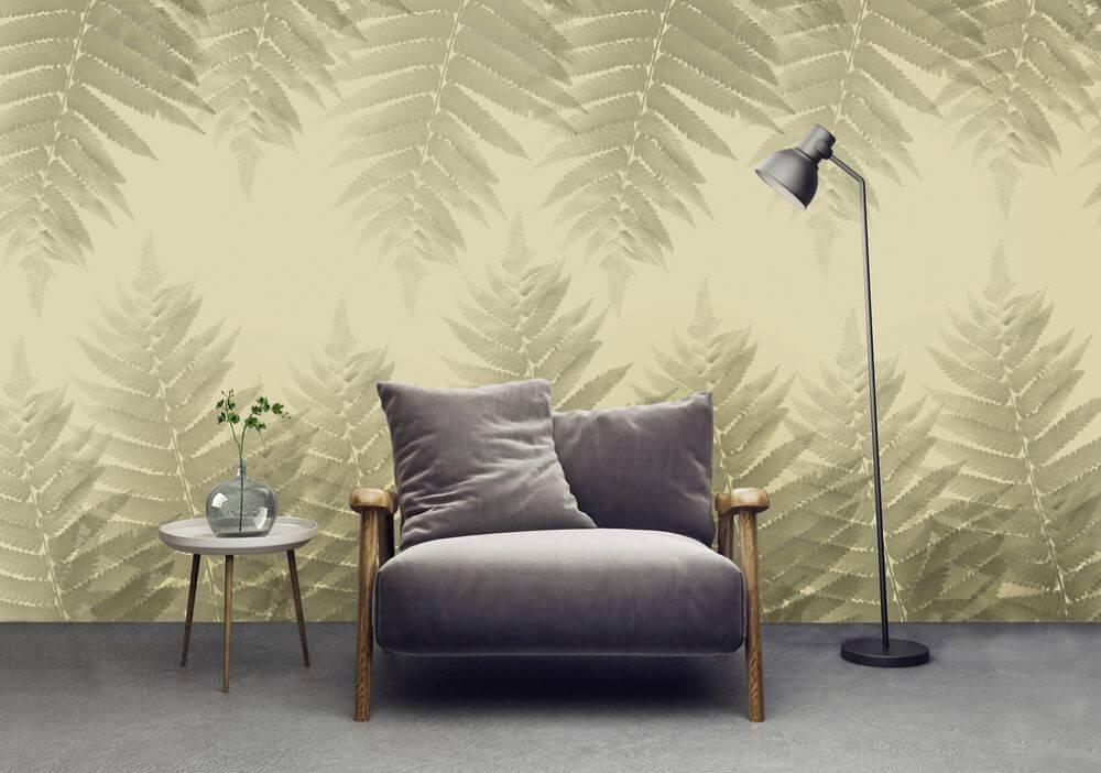 Dekorujemy ścianę w salonie - designerskie tapety do wyjątkowych wnętrz - uWalls - Liście paproci