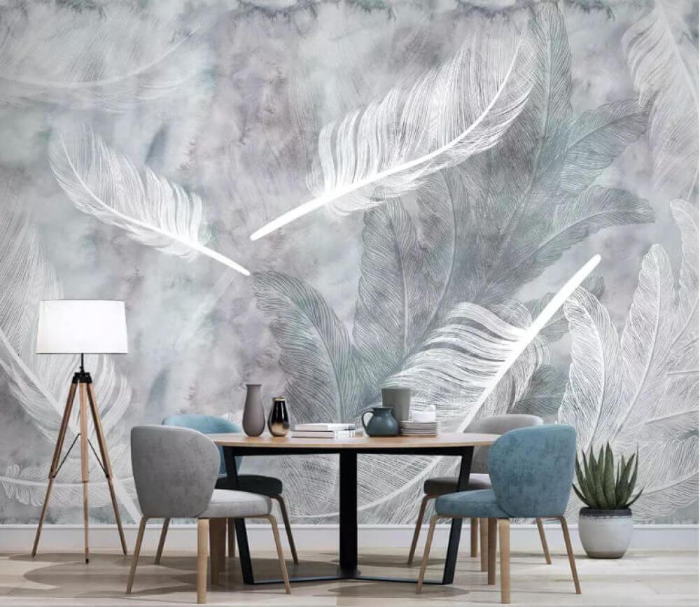 Dekorujemy ścianę w salonie - designerskie tapety do wyjątkowych wnętrz - uWalls - Tapeta pióra