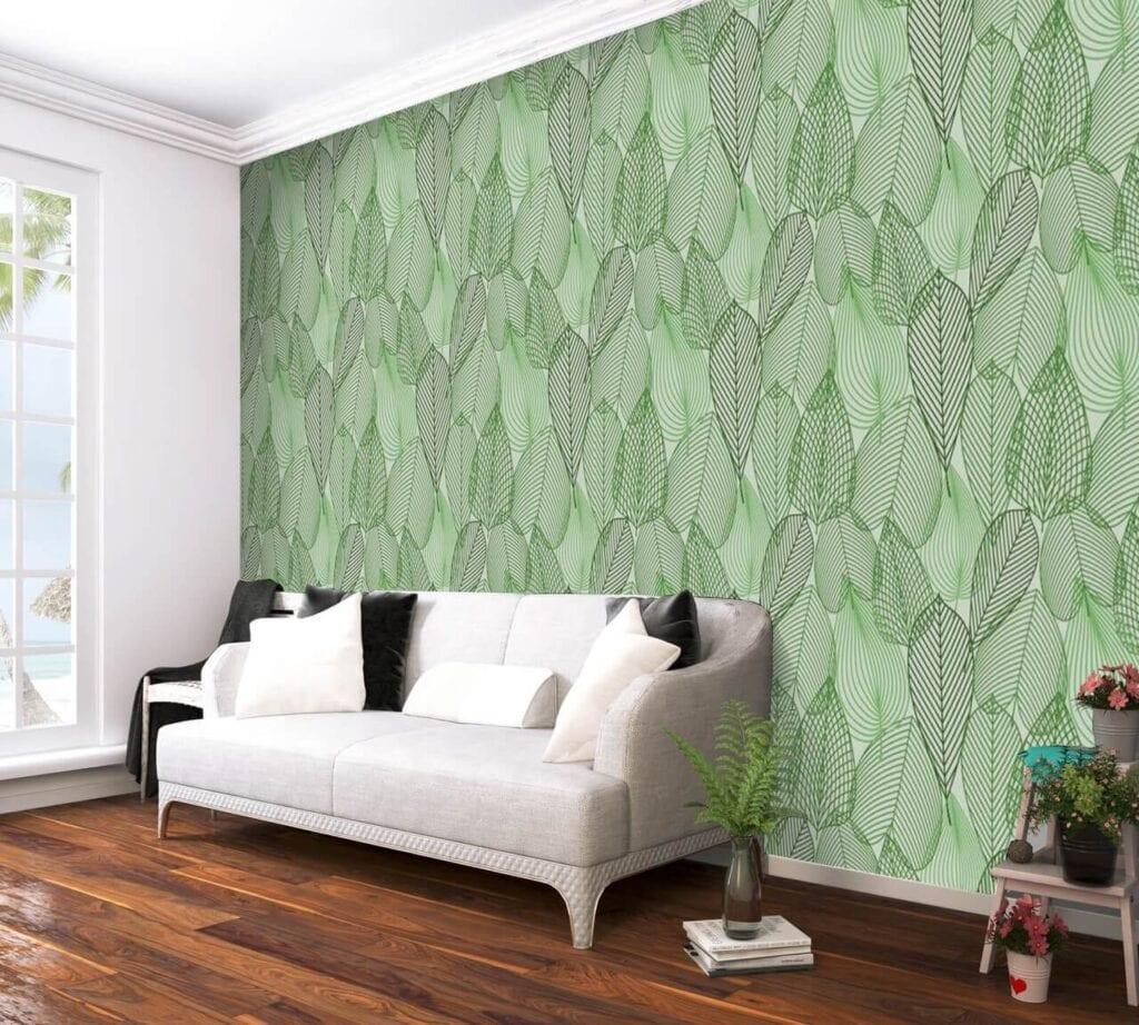 Dekorujemy ścianę w salonie - designerskie tapety do wyjątkowych wnętrz - uWalls - Wiosną zielone liście