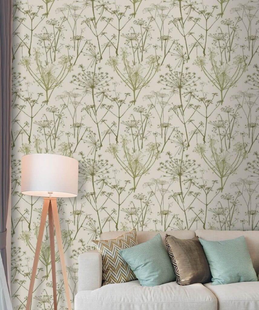 Dekorujemy ścianę w salonie - designerskie tapety do wyjątkowych wnętrz - uWalls - Wzór kwiatów parasolowe