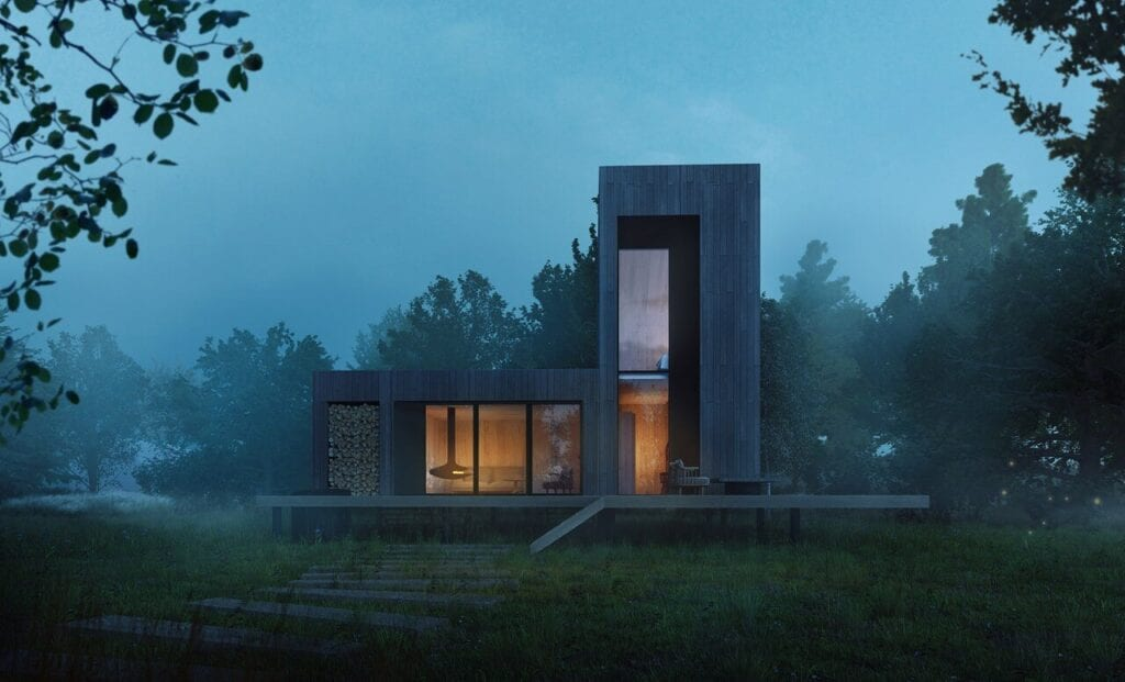 Domek letniskowy w Strachowie projektu YONO Architecture - wizualizacje GID Studio