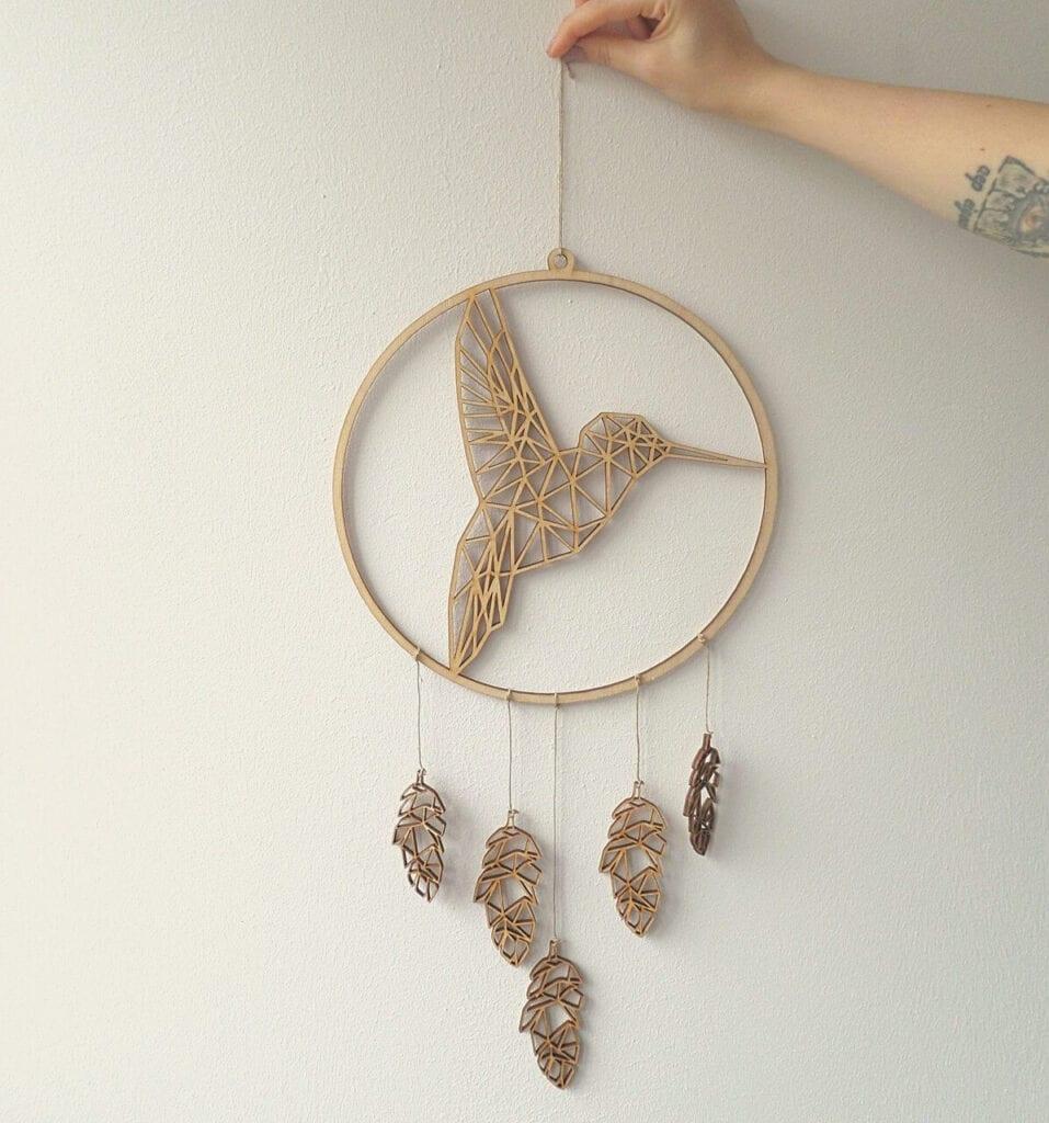 Łapacz snów z geometrycznym kolibrem od marki Hagal