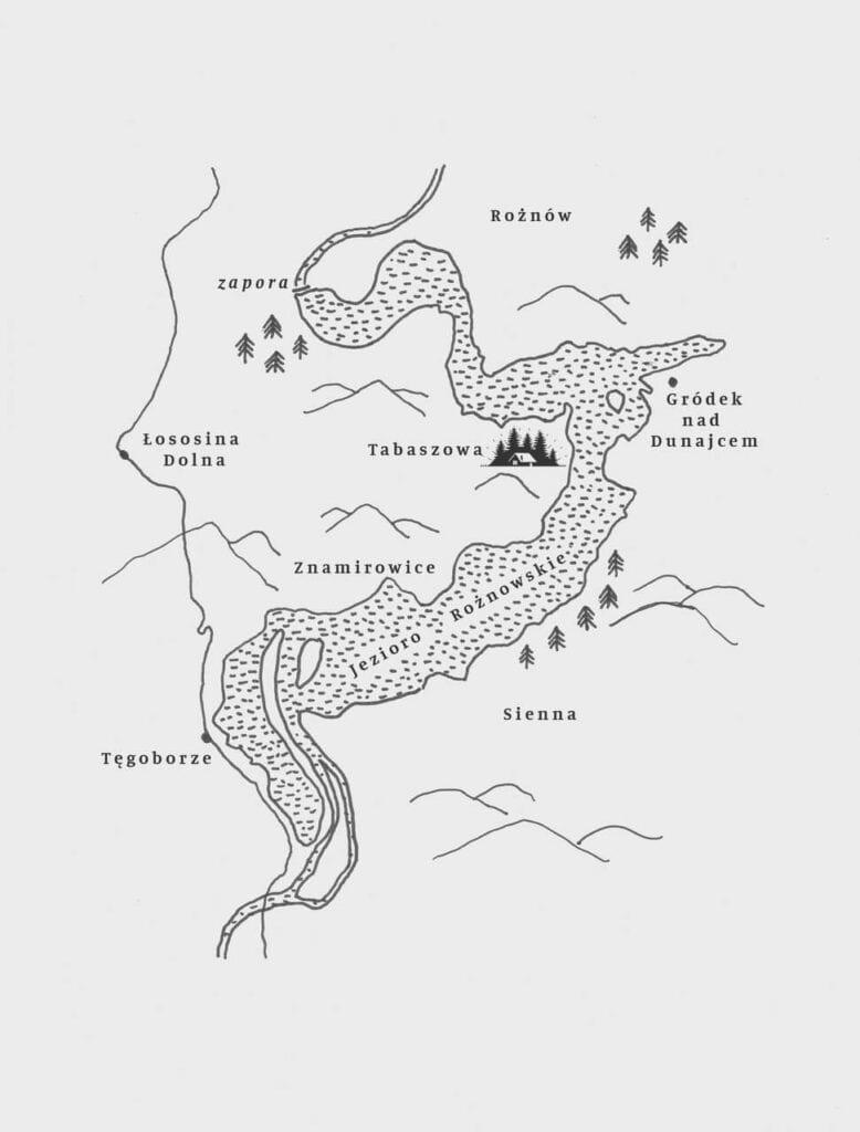 Mapa jeziora Rożnowskiego - rysunek Bartosz Mucha