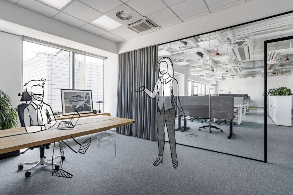 Wnętrze biura na 17 piętrze poznańskiej Andersii projektu Kinnarps