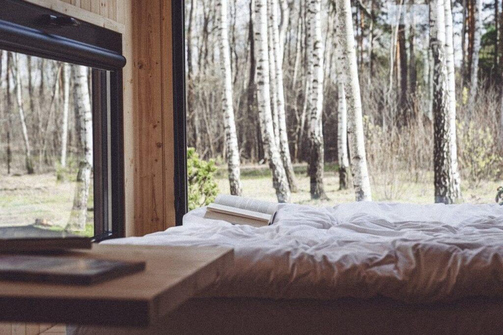 Piękny widok z okna na las z wnętrza domku wypoczynkowego