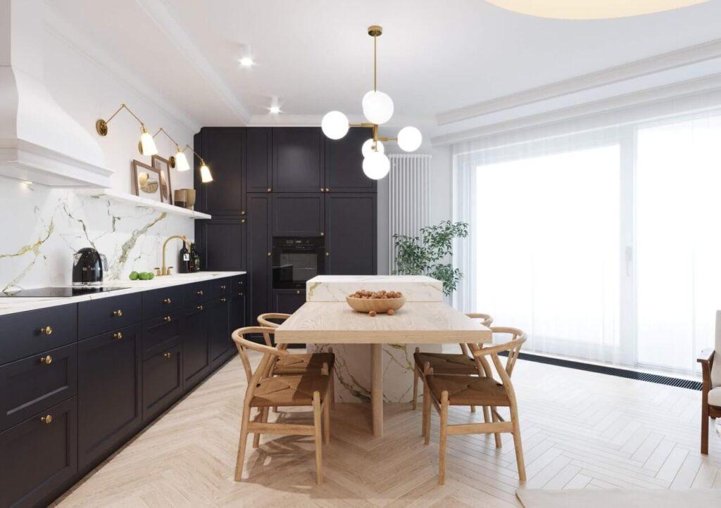 Apartament w Krakowie w stylu Japandi i nowoczesnym dla 3-osobowej rodziny