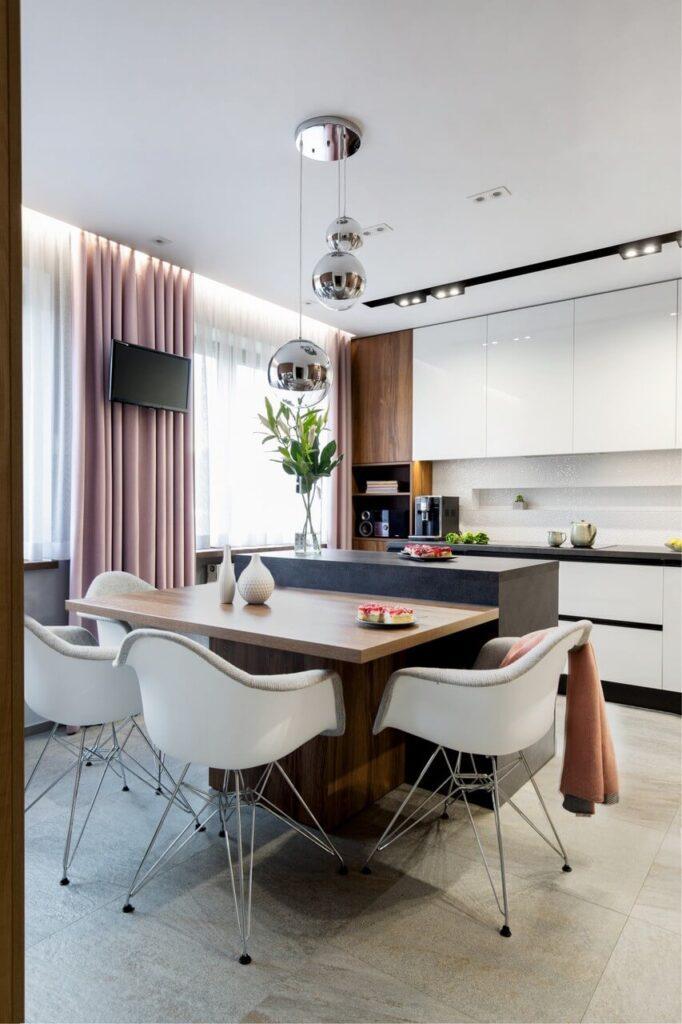 Salon połączony z kuchnią - Dom o powierzchni 130m2 - projekt Agnieszka Morawiec