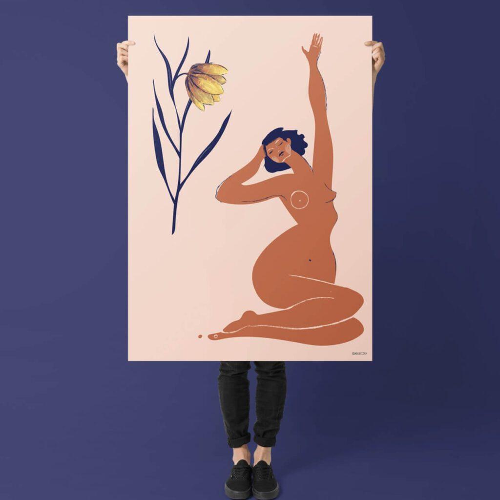 Iza Bułeczka - feminizm w artystycznym wydaniu - plakat Checkered lily