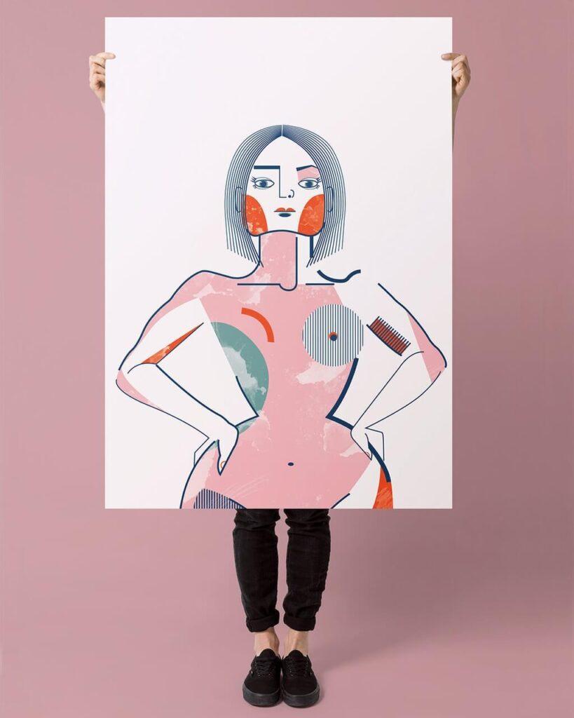 Iza Bułeczka - feminizm w artystycznym wydaniu - plakat Girlboss