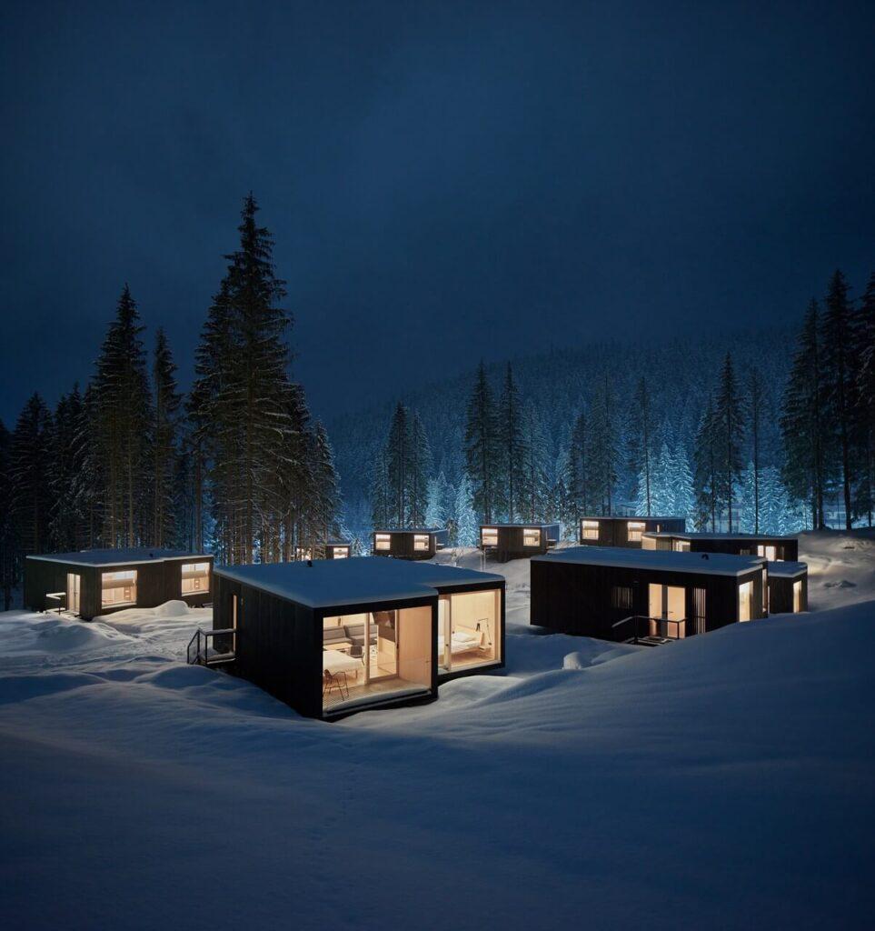 Leśny zespół wypoczynkowy przy Hotelu Bjornson - projekt Ark-shelter - foto BoysPlayNice