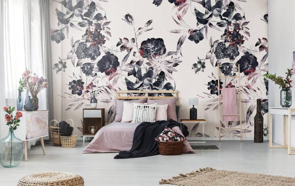 Tapeta w sypialni - Pixers - Zestaw ciemne kwiaty