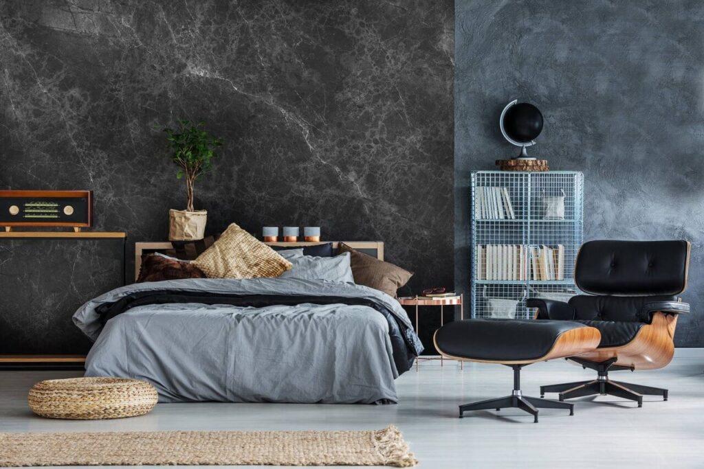 Tapeta w sypialni - Pixers - zestaw sypialnia w szarościach