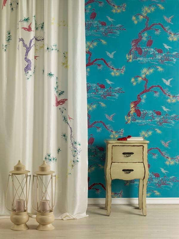 Tapeta w sypialni - RED POPPY - Flamingos