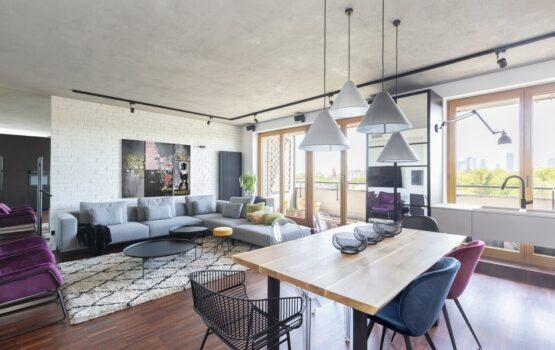 Stylowy apartament z widokiem na panoramę Warszawy