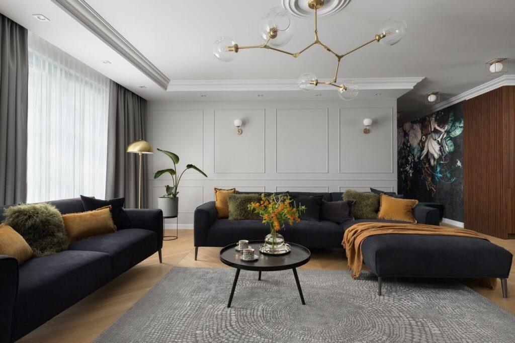 Stylizacja salonu - 160-metrowy apartament - projekt Nubo Interior