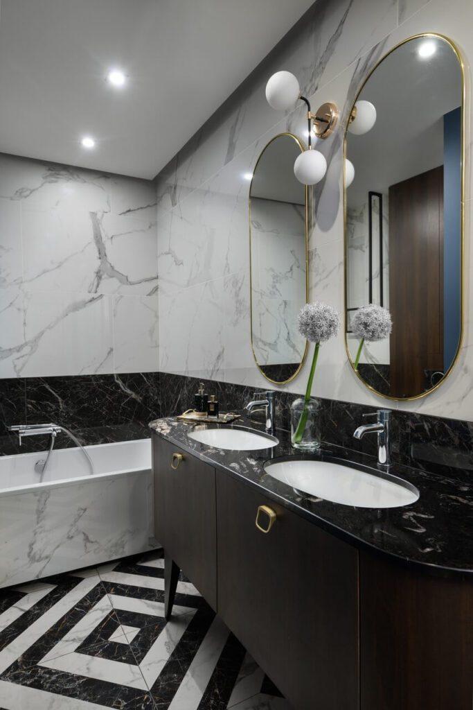 Stylowa łazienka - 160-metrowy apartament - projekt Nubo Interior