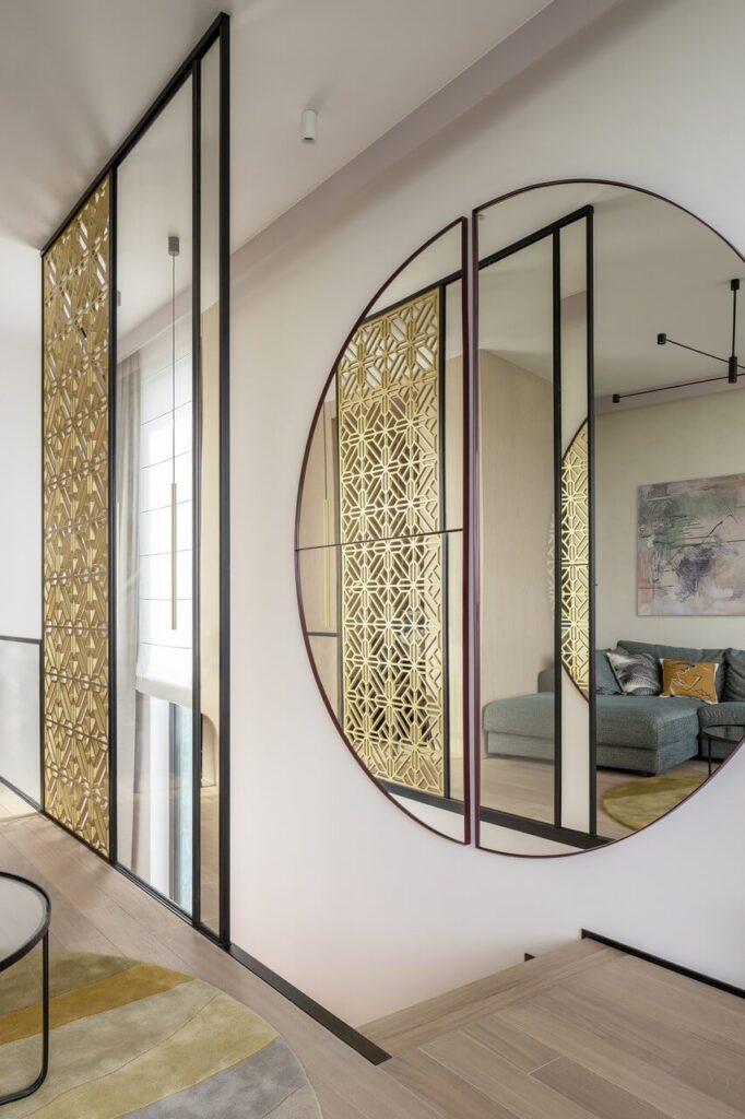 Dwupoziomowy apartament z widokiem na ogród - projekt Modeko.Studio - foto Marcin Grabowiecki
