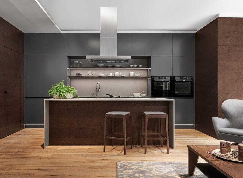 Jak wykończyć przestrzeń pomiędzy szafkami w kuchni - Noble Concrete Grey M - Hanák Home design