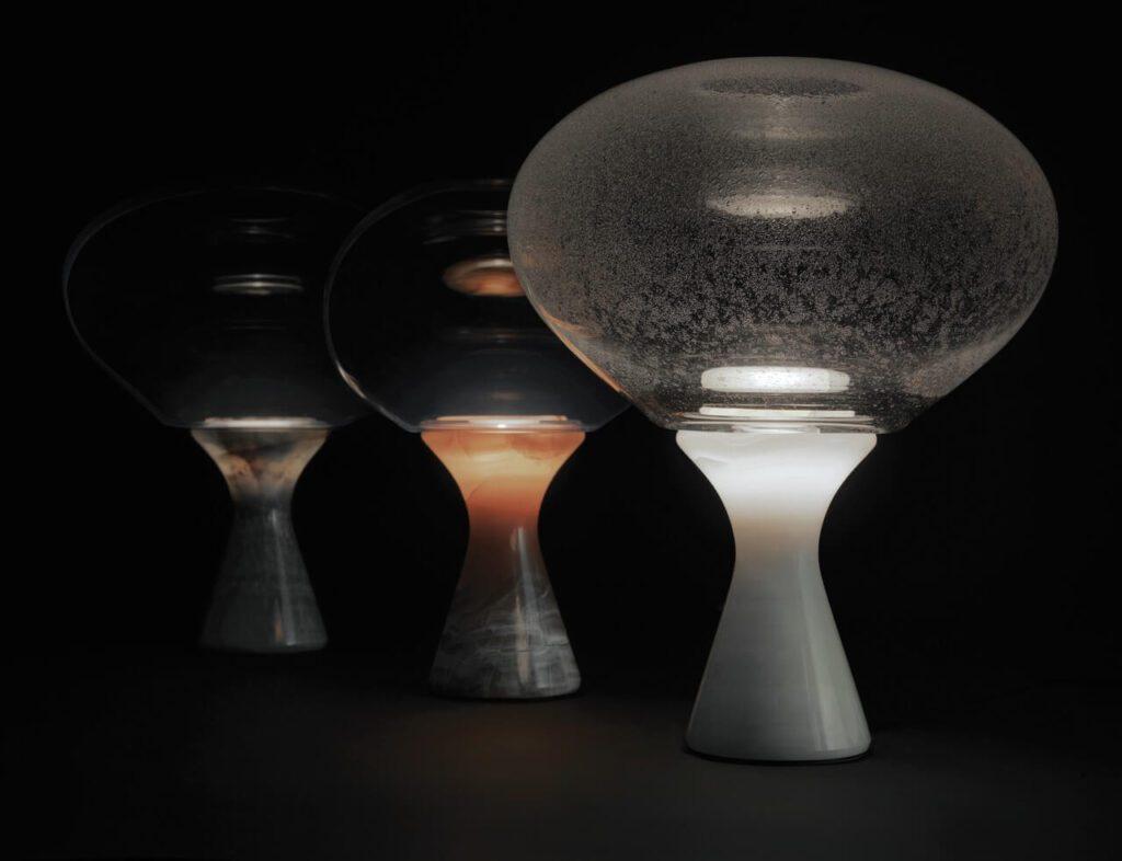 Kolekcja Aurora od Kreoo - onyks, szkło Murano i światło - Lampa Magika